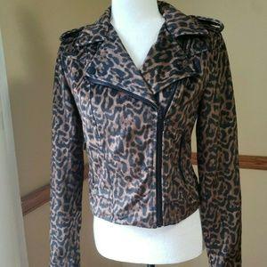Bebe Velvet Moto Leopard Cropped Jacket Size S